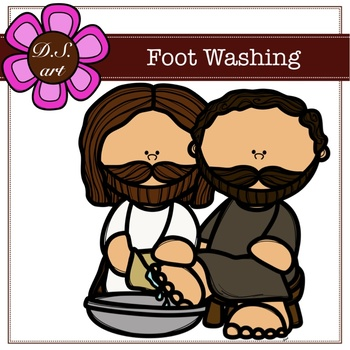 Foot Washing Digital Clipart (color and black&white).