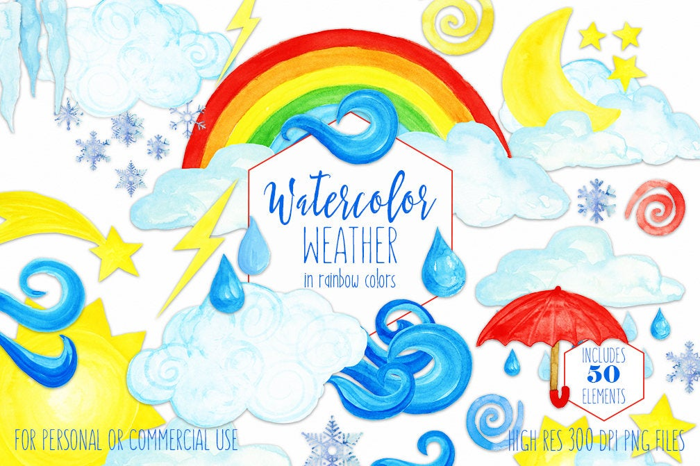 WATERCOLOR WEATHER Clipart for Commercial Use Cute Weather.