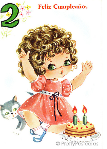 Vintage Birthday card for a Big Eyed Girl, 2 Years old.