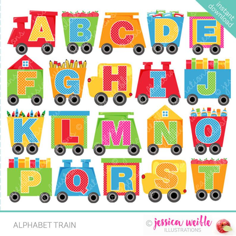 Alphabet Train Cute Digital Clipart for Commercial or Personal Use,  Alphabet Clipart, Alphabet Graphics, Train Cars.