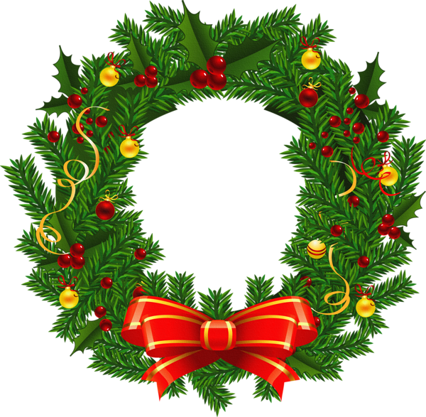 Large Transparent Christmas Wreath PNG Picture.