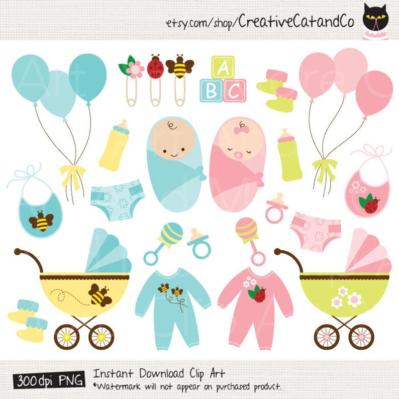 Baby Clipart Clip Art Baby Shower Boy Girl Product Clipart Baby Toy Baby  Clothes Stroller Stuff Clipart.