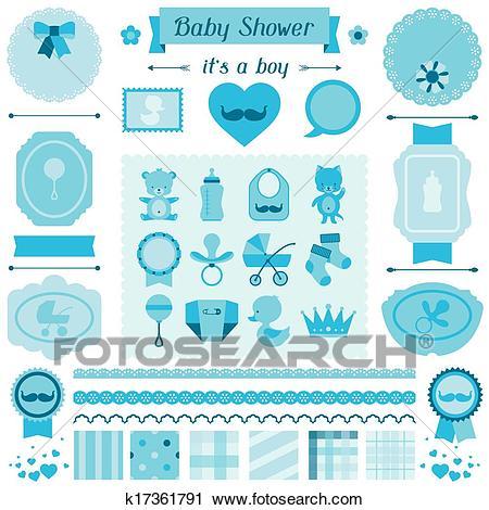 Boy baby shower set of elements for design. Clipart.