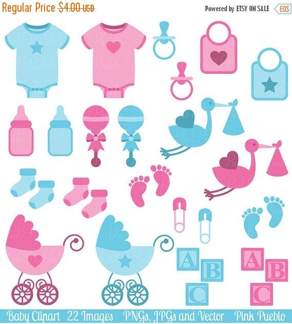 Baby Clip Art Clipart, Boy and Girl Baby Shower Clip Art.