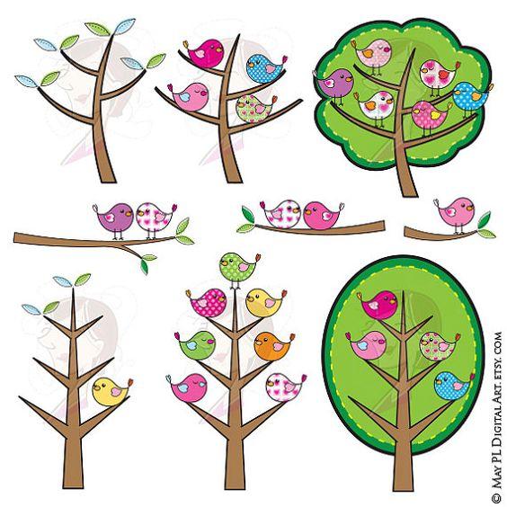 Birds Tree Clipart Digital Clip Art Cute Birds Pink Blue Green.