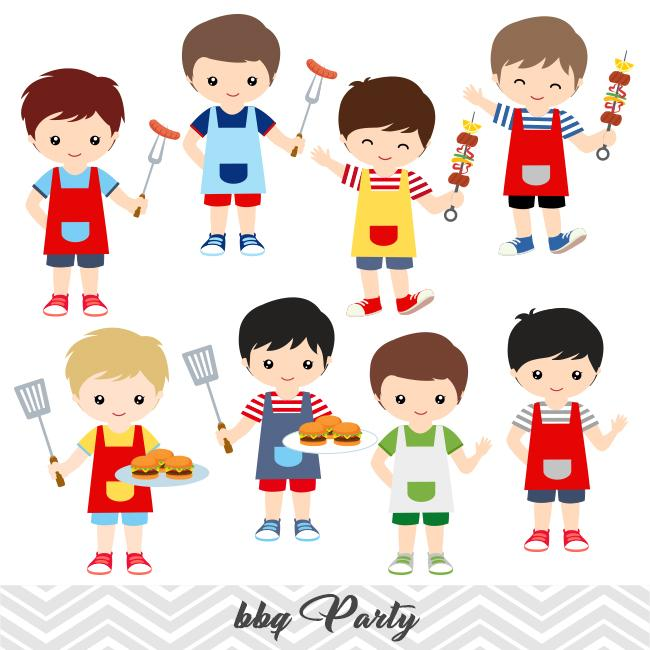 BBQ Digital Clip Art, Kids BBQ Clipart, Boys and Girls Summer Barbecue  Clipart, 00248.