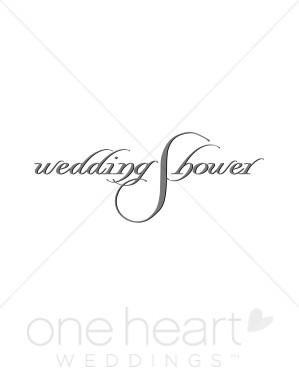 Wedding Shower Silver Script Clipart.