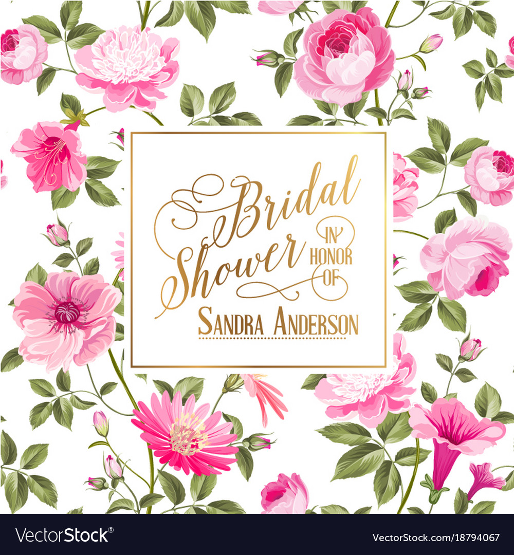 Bridal shower invitation with flowers.