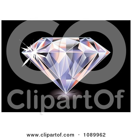 Clipart 3d Brilliant Diamond On Black.