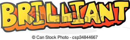 Clip Art Vector of brilliant cartoon word.