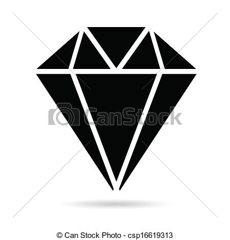 Vector Clip Art of diamonds brilliant black vector illustration.