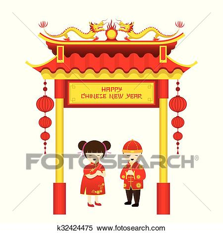 Chinese New Year, Boy and Girl and Chinese Gate Clipart.
