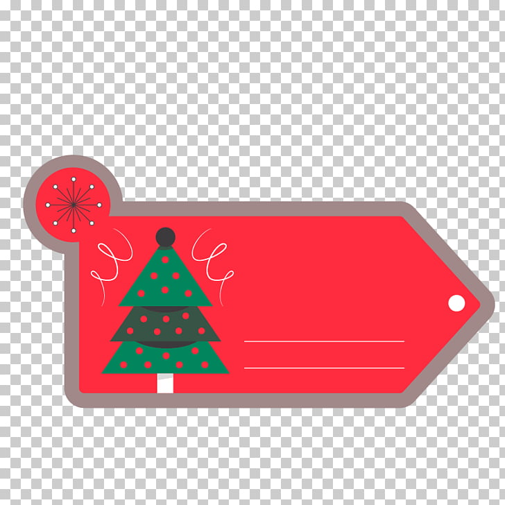Christmas Sticker Label, Christmas Tree red labels PNG.