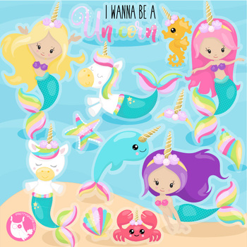 Sale unicorn mermaid clipart commercial use, vector graphics, digital.