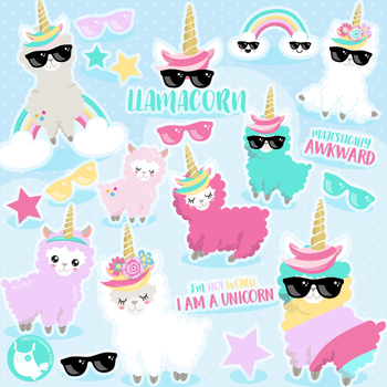 Sale Unicorn llama clipart commercial use, vector graphics, digital.