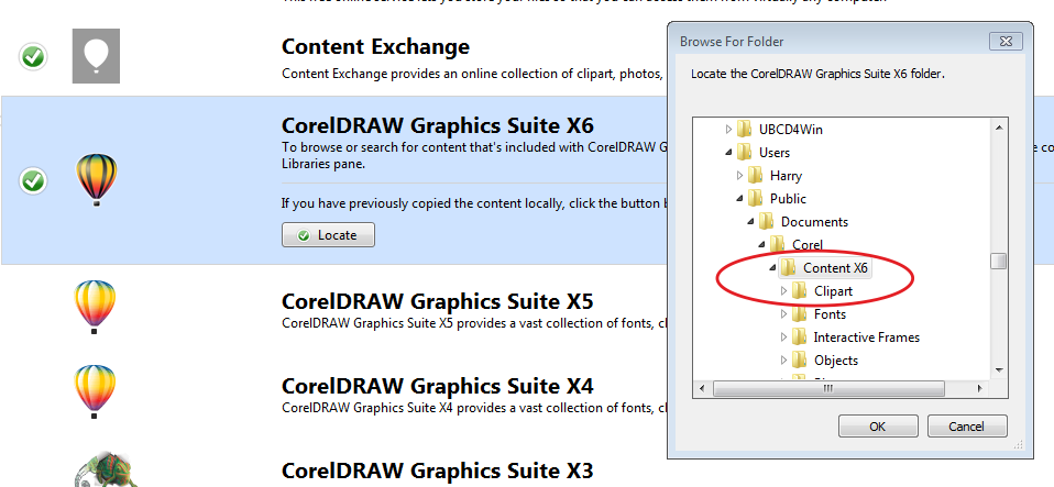 Corel Connect X7 does not search my X5 clipart.