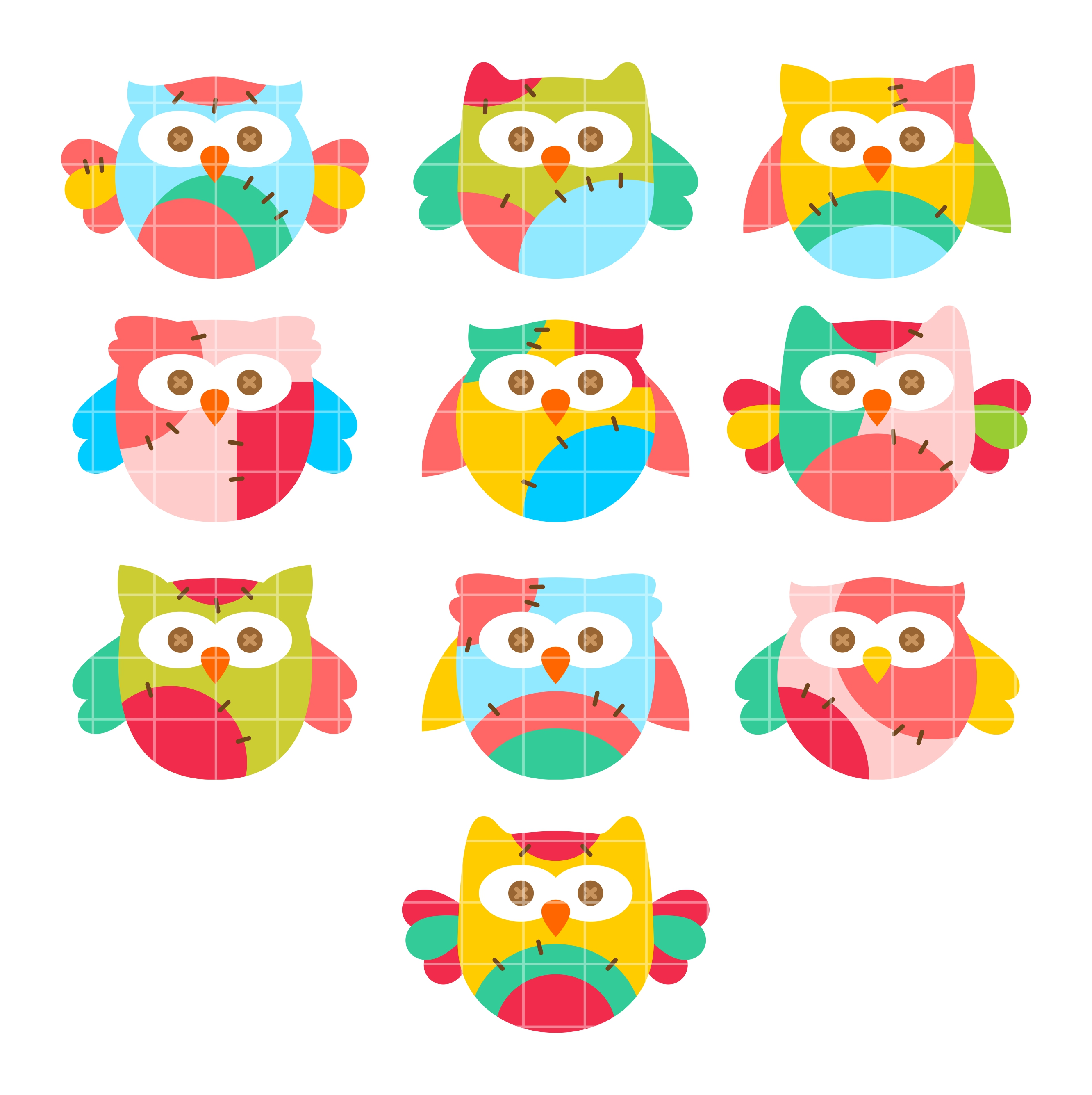 Colorful Owls Set Semi Exclusive Clip Art Set For Digitizing and More.