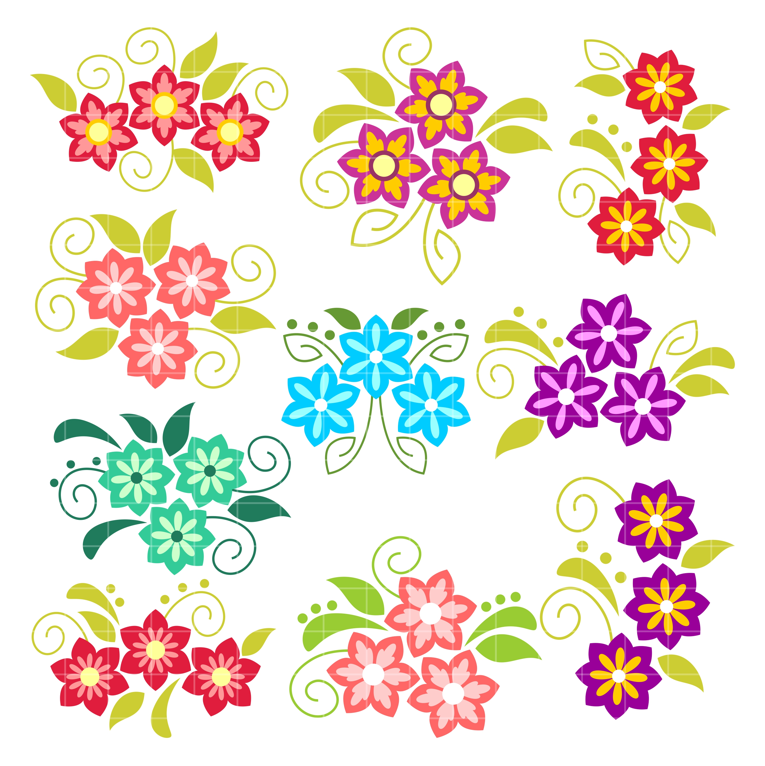 Pretty Flowers Arts Set Semi Exclusive Clip Art Set For Digitizing and More.