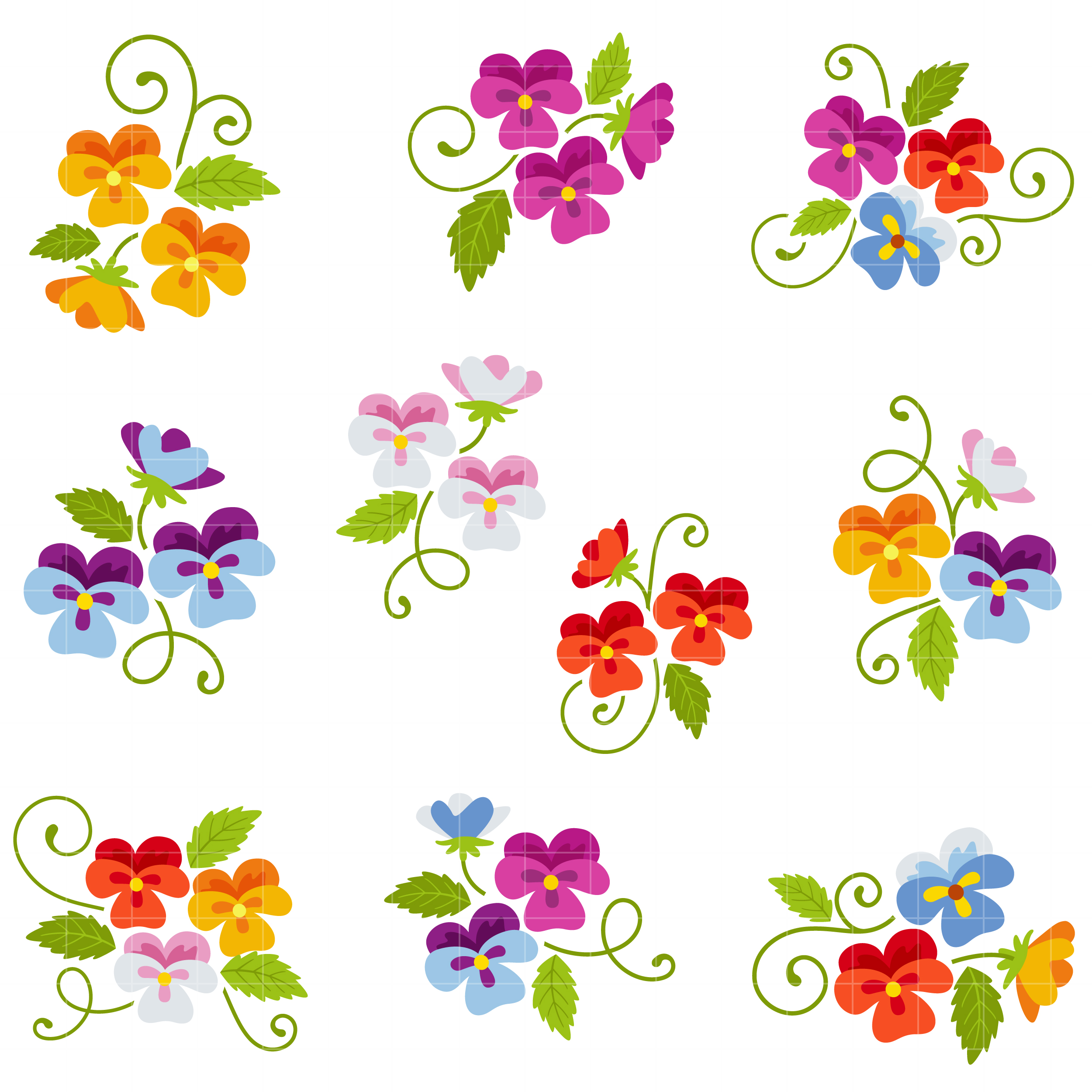 Cute Pansies Set Semi Exclusive Clip Art Set For Digitizing.