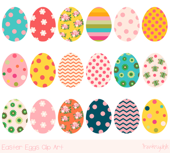 Cute Easter eggs clipart, Colorful Easter egg clip art, Easter egg hunt  clipart.