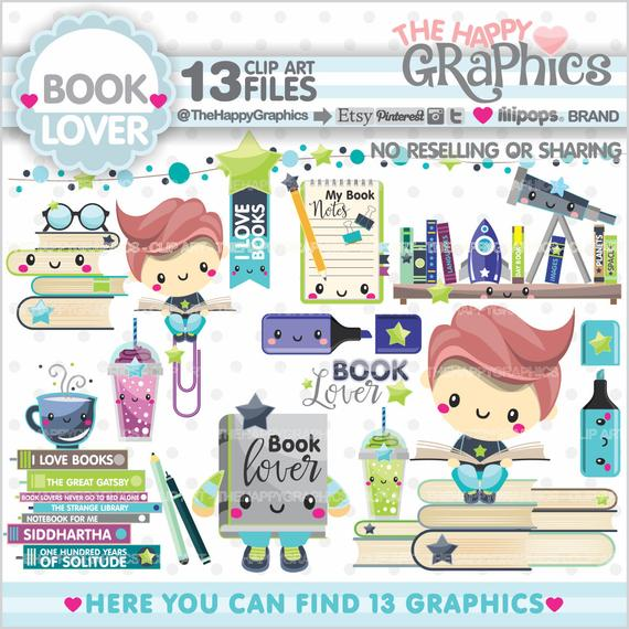 Book Clipart, Book Graphics, COMMERCIAL USE, Planner Accessories.