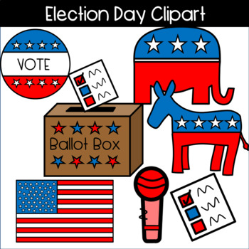 Election Day Clipart! Ballot, Voting Sticker, Donkey, Elephant.