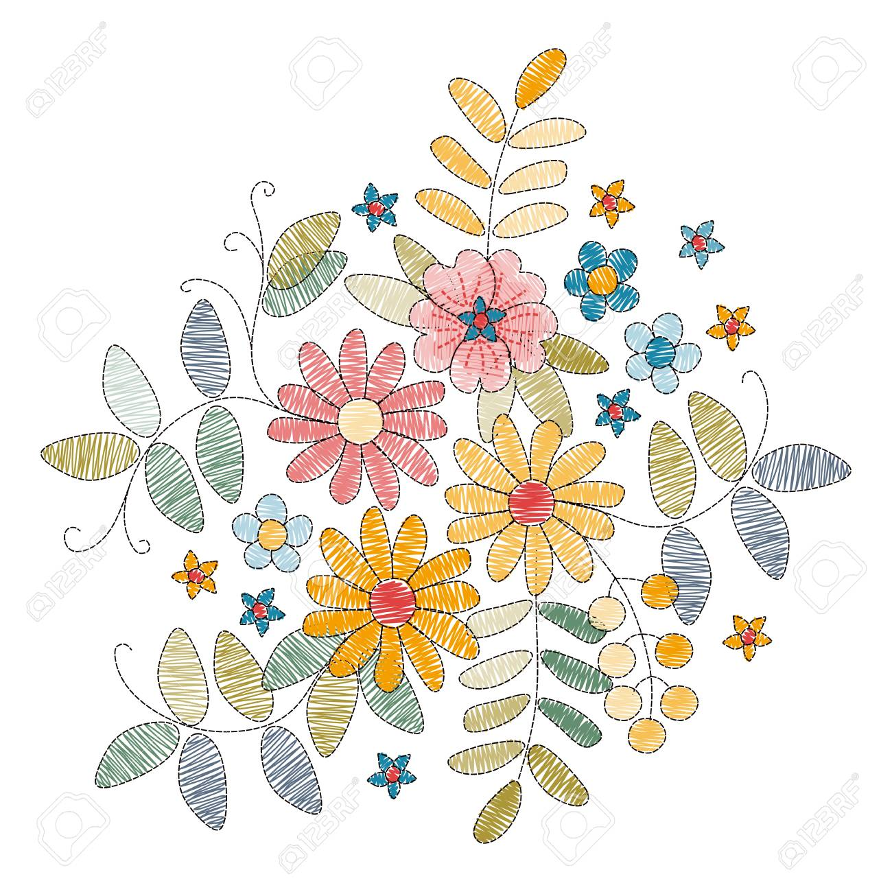 Embroidery design with beautiful flowers and leaves on white...