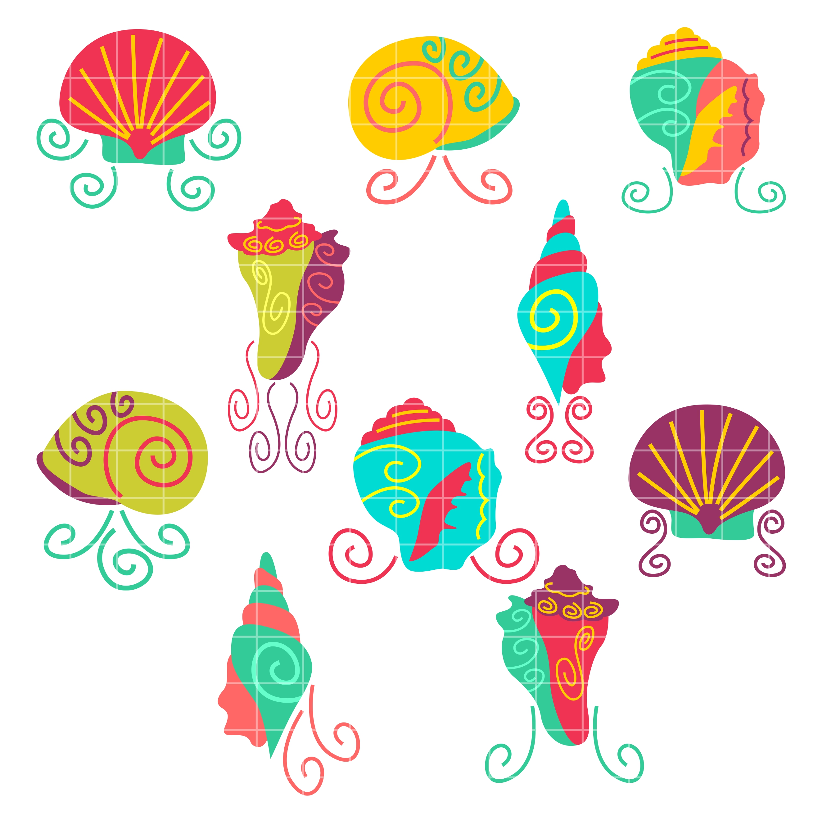 Sea Shell Set Semi Exclusive Clip Art Set For Digitizing and More.