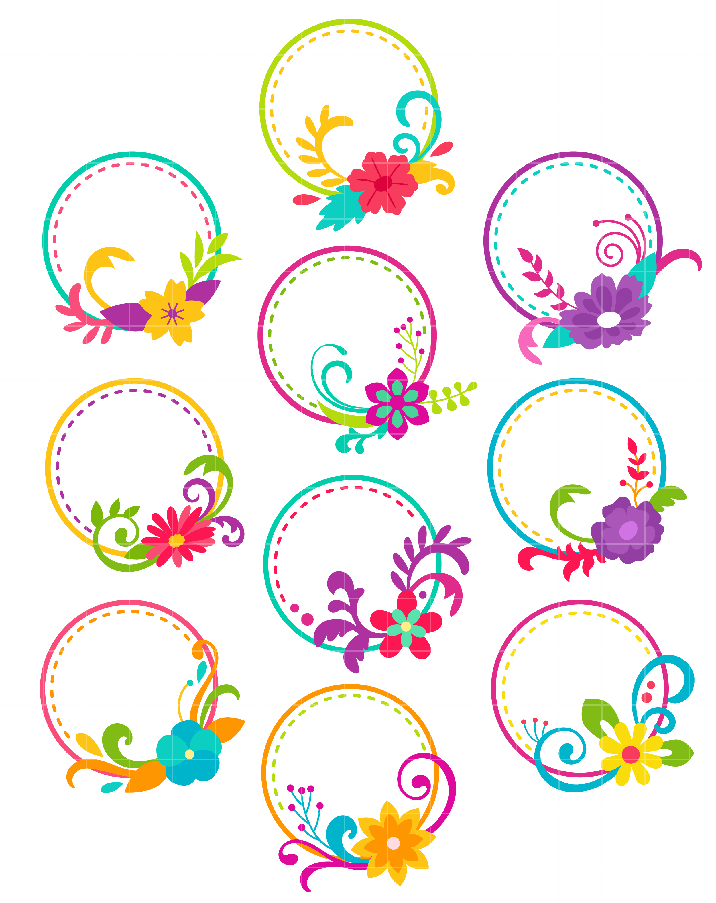 Floral Hoops Arts Set Semi Exclusive Clip Art Set For Digitizing and More.