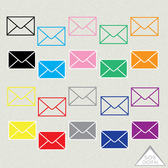 Envelope Clipart Mail Clipart email Clipart colored by.