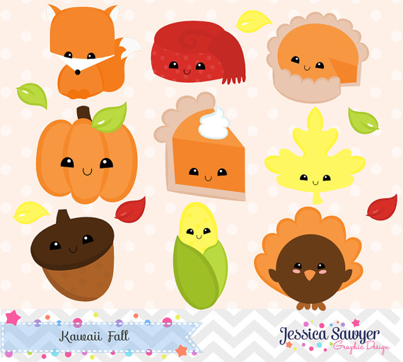 INSTANT DOWNLOAD, kawaii fall clipart and vectors for.