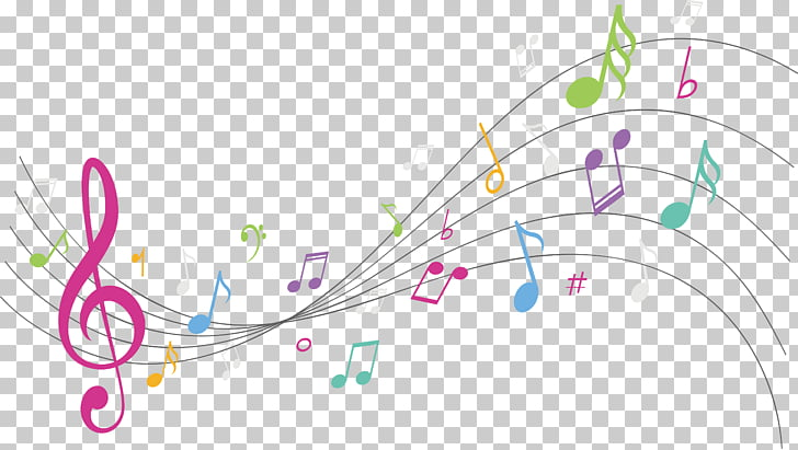 Graphic design Musical note Background music, Colorful notes.