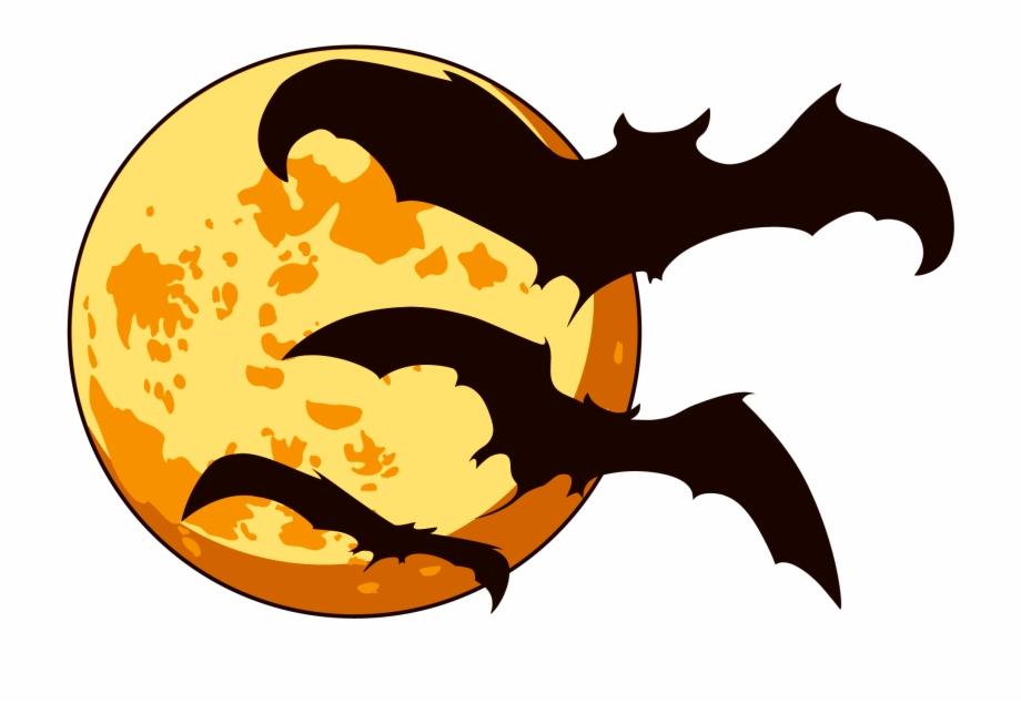 Orange Halloween Moon With Bats Png Clipart.