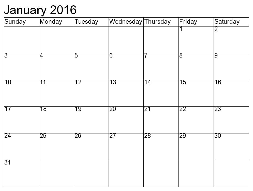 January 2016 calendar clipart.