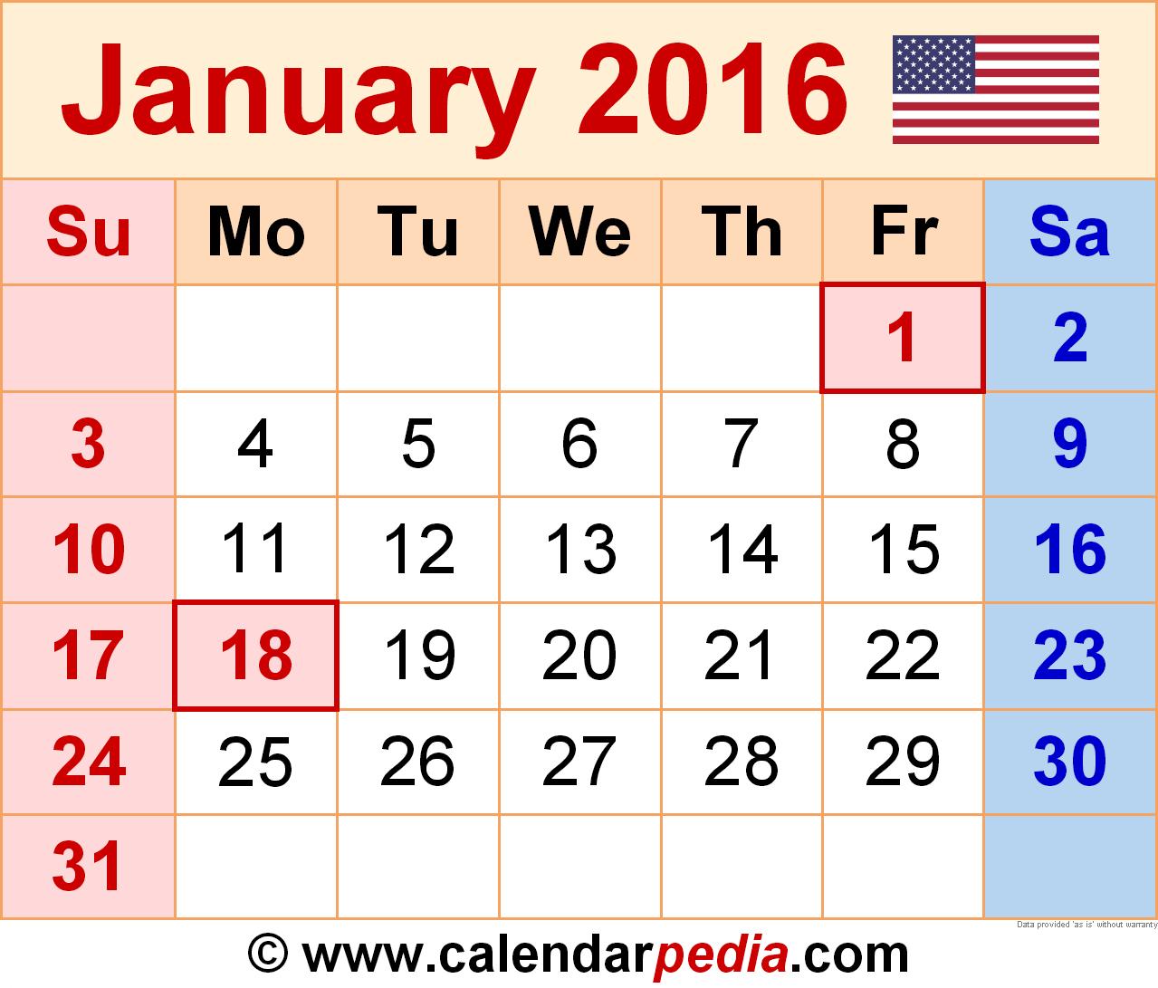 Cute January 2016 Calendar template.