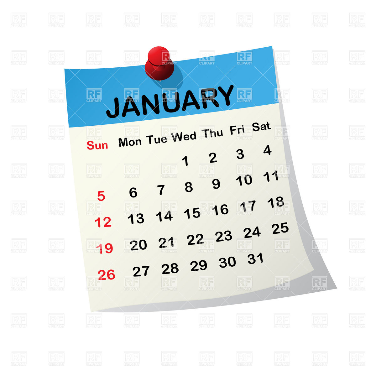Clipart For January 2016 Calendar.
