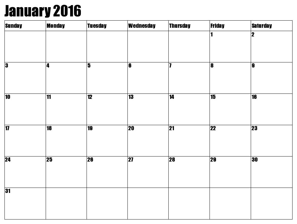 January 2016 Calendar Printable.