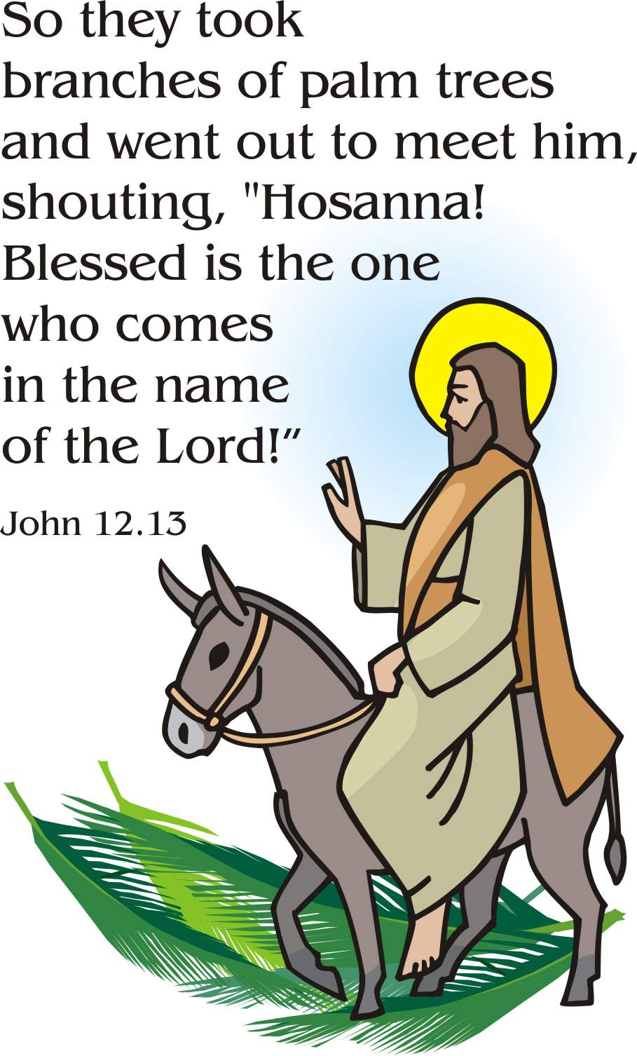 Jesus On Palm Sunday Clipart.