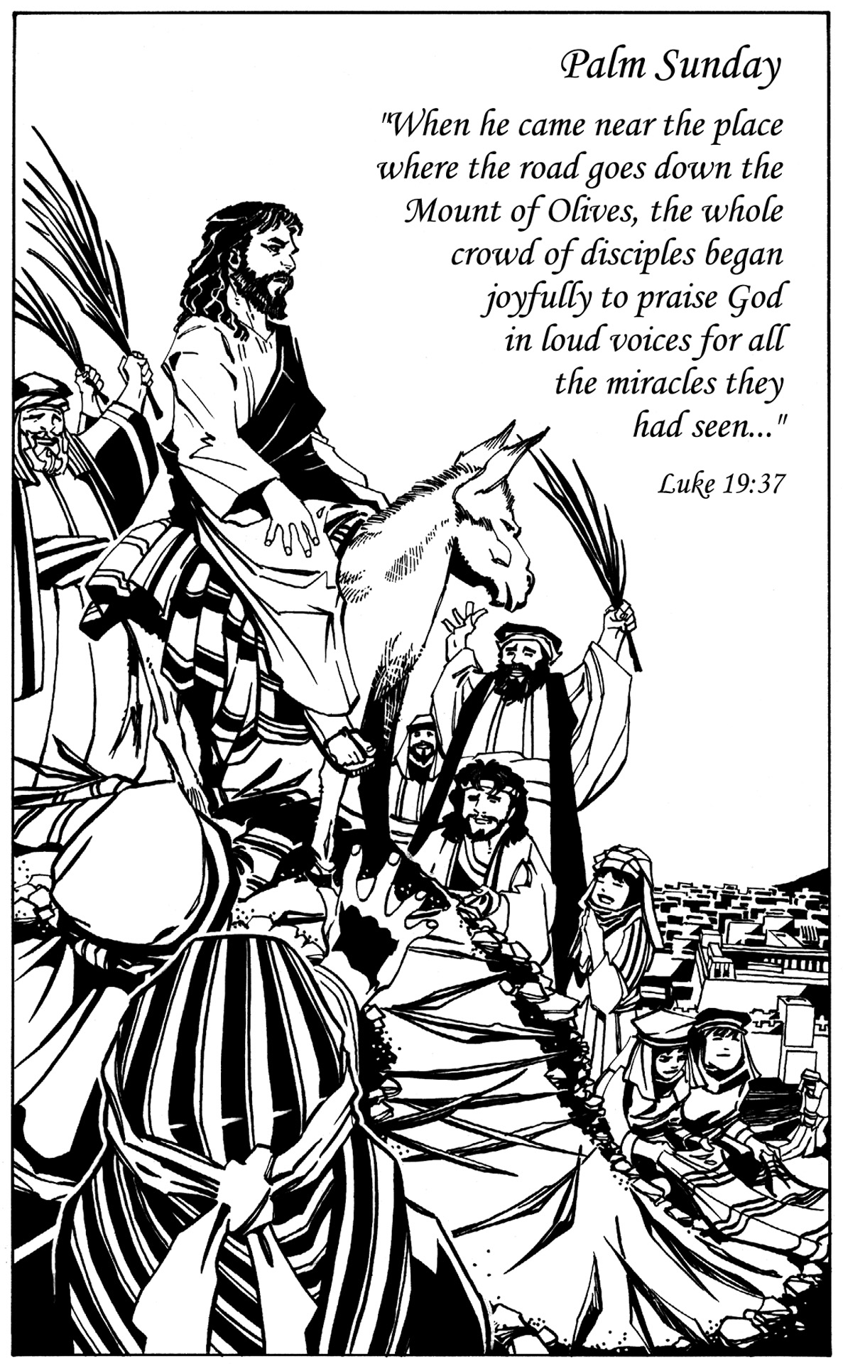 Jesus On Donkey Palm Sunday Clip Art.