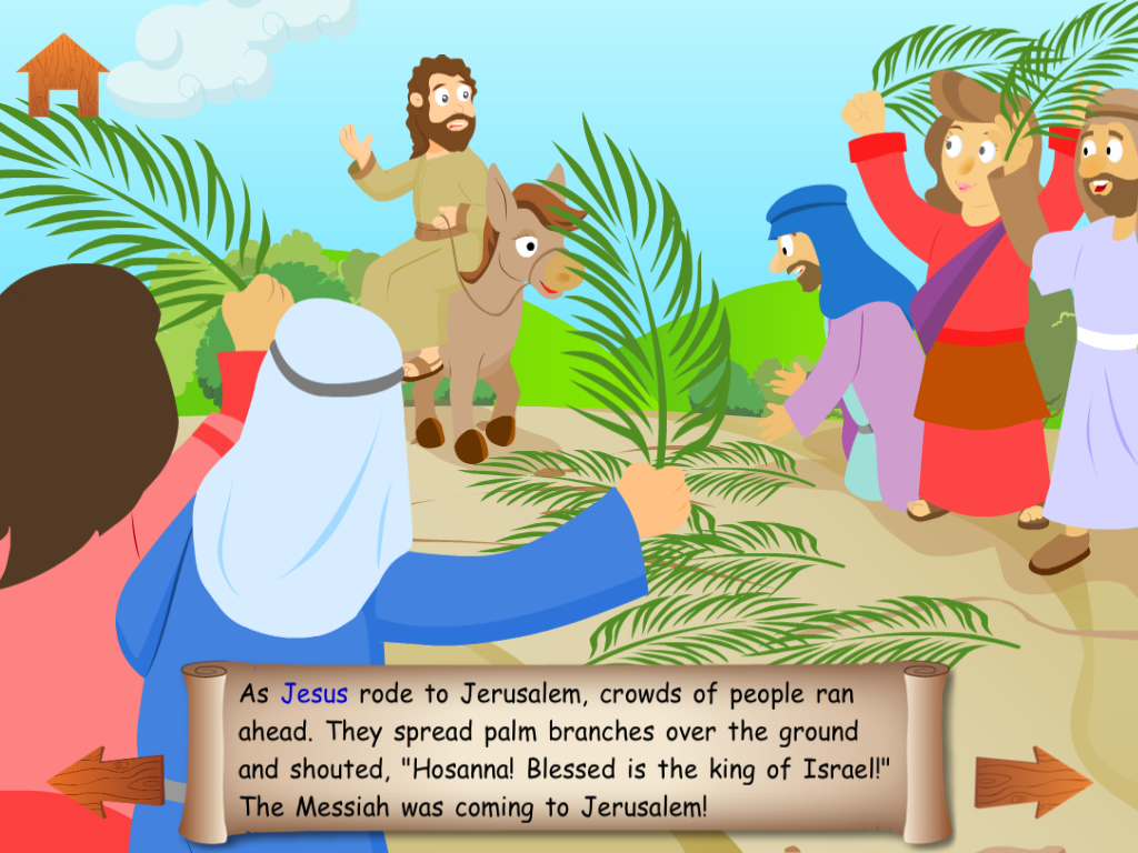 Jesus a Donkey On Palm Sunday Clip Art.