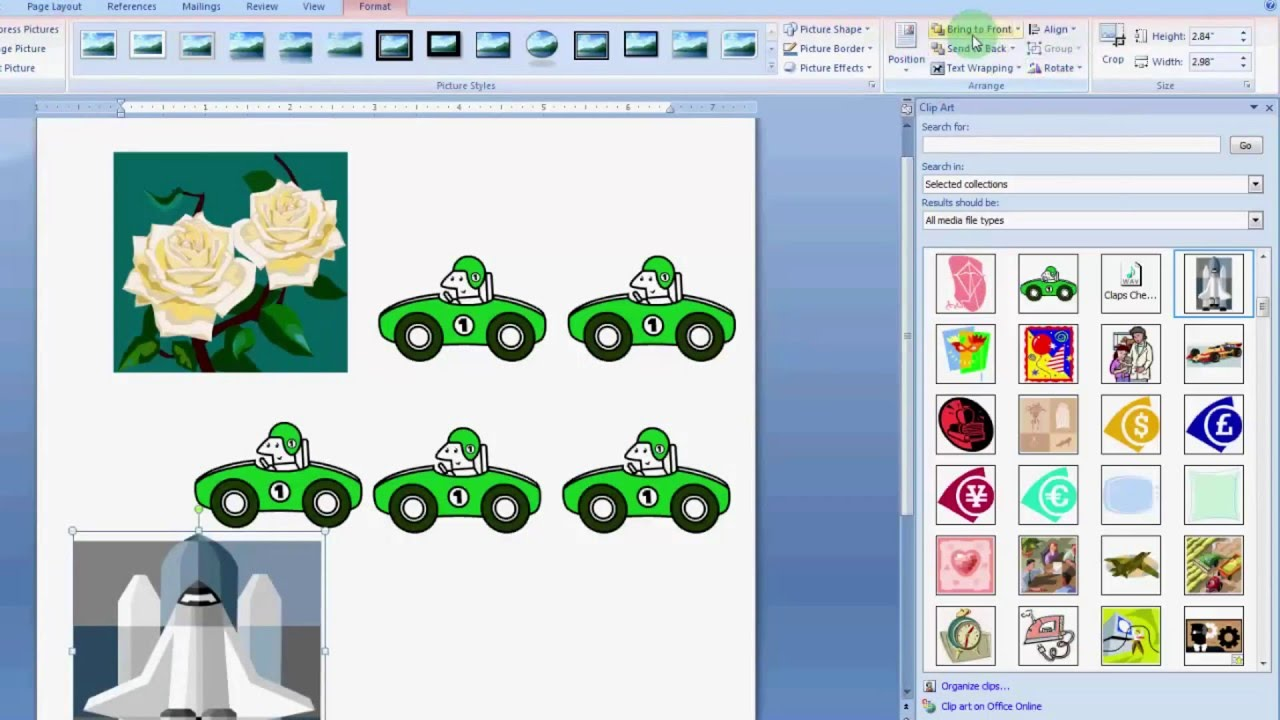 how to use clip art in MS Word 2007.