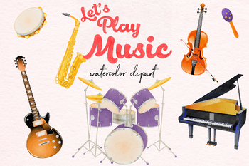 Watercolor Instruments Clipart, Musical Instruments.