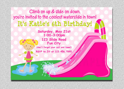 Free water slide party invitations.