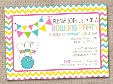 Bowling Birthday Party Invitations Free Templates.