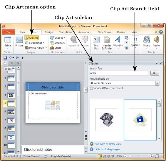 Insert Clipart Powerpoint 2010.