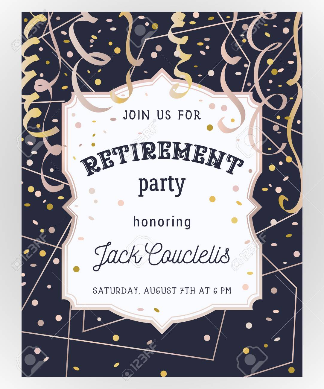 Retirement Party Invitation. Design Template With Rose Gold.