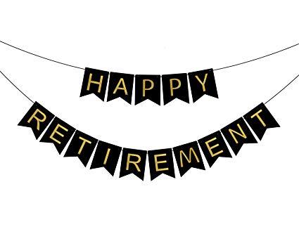 Amazon.com: FECEDY Black Happy Retirement Banner Bunting for.