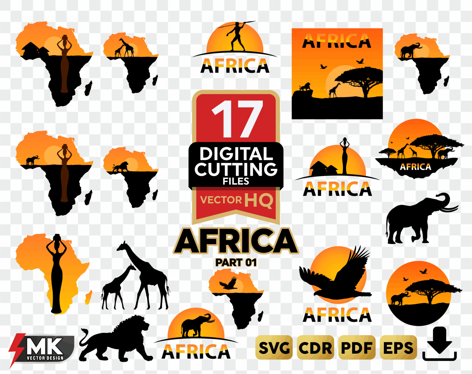 AFRICA SVG #01 SVG Silhouette Clipart svg cut by SVGMKCreative.