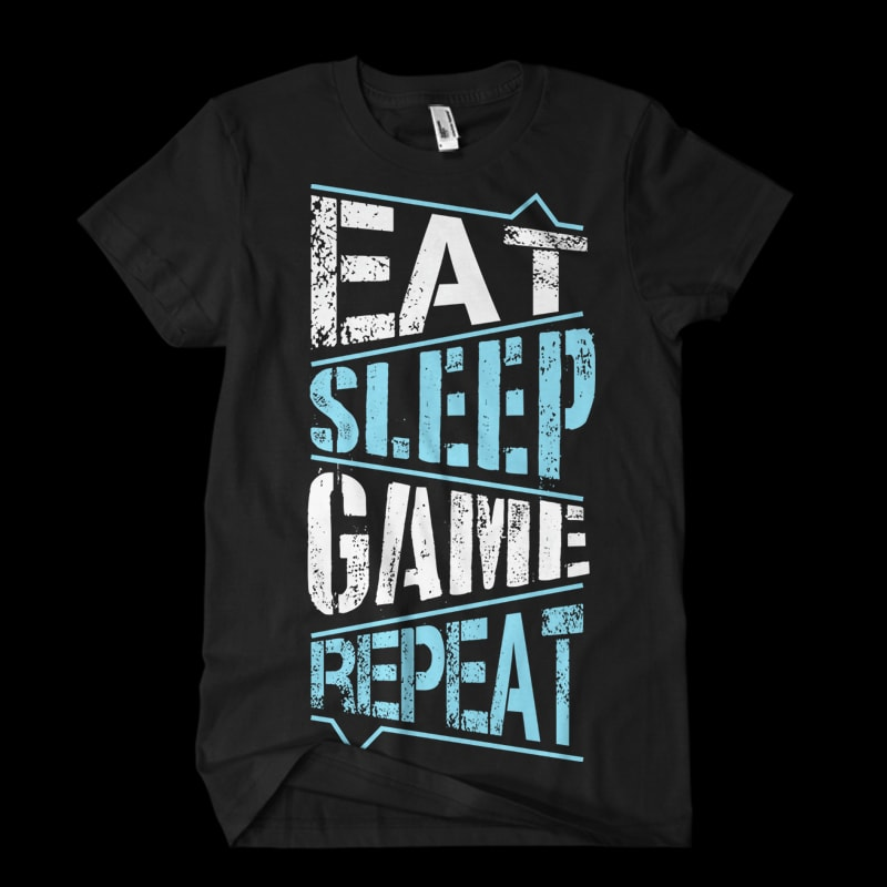 Eat Sleep Game Repeat vector clipart.