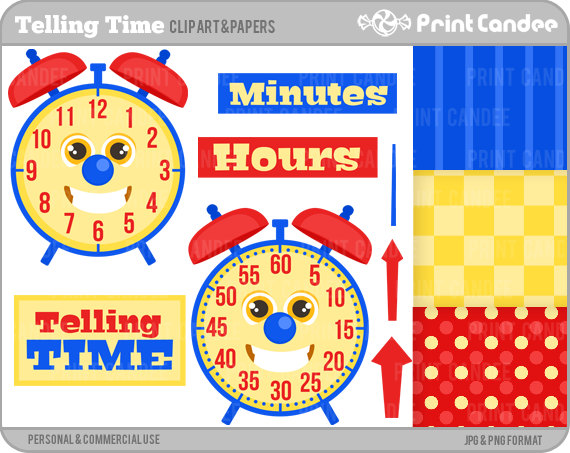 Telling Time NOT COMMERCIAL USE Digital Clip Art clock.